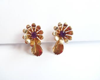 Gold Screw On Earrings - Purple Rhinestones