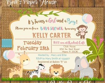 Digital File or Printed, Twins Safari Baby Shower Invitation,Burlap,Jungle Theme Baby Shower Invitation,Twins Birthday Safari,Free Shipping