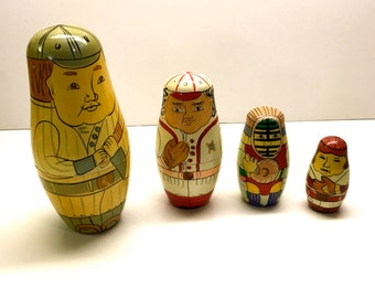 Vintage Baseball Nesting Dolls, 4 in the Set - Hand Painted Wooden Dolls