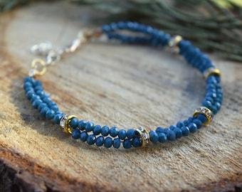 Tiny Crystal Bracelet, Women Bracelet, Gold Plated Bracelet, Crystal Bracelet, Women Jewelry, Bracelets for Women, Beaded Bracelet, Gift
