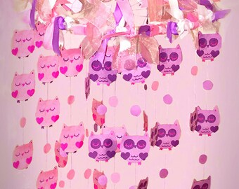 Owl Mobile, Baby Mobile - Owl Nursery Mobile, Nursery Mobile, Girl Mobile Nursery, Boy Nursery Mobile, Owl Crib Mobile, Custom Made Mobile