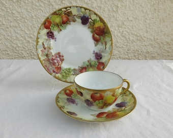 Vintage Hand Painted Fine Bone China Trio