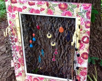 All In One Jewelry Wall Organizer, Earring Holder, Necklace Hanger. Floral and Pink, Wooden Shelf, Wrought Iron Hangers and Chicken Wire