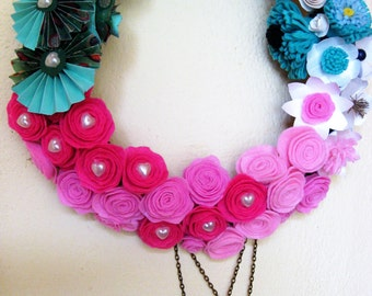 pink flower wreath Spring home decor paper roses wall decor welcome door hanged  girl room Decor lovers gift  for her gift for him