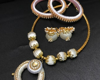 White Silk Thread Jewelry Set - Indian Silk Jewelry - Indian Jewelry Set - Indian Bridal - Indian Wedding - Bollywood Jewelry - Jhumki -