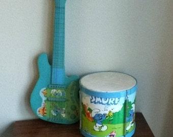 Smurfs Drum and Guitar Peyo Vintage Smurfs Musical Instruments, Vintage Smurfs Original Toy Drum Metal, SMURFS Rock n Smurf Guitar PEYO Drum