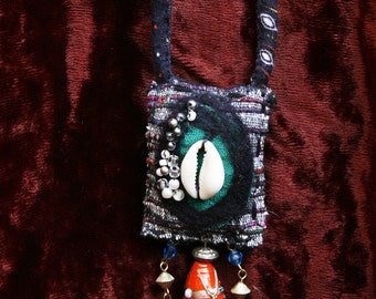 A OOAK Hand stitched, hand beaded vintage fabric hippy boho Necklace