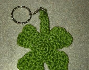 Handmade Crochet Four Leaf Clover Keychain