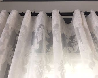 Rue de France Curtains. Wide Lace White French panel , Pierre Deux Style