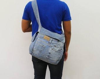 """LEVIS bag denim Shoulder Bag/ 11"""" by 10"""" Bag reclaimed jean Handmade bag Adjustable Shoulder Bag"""