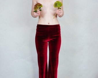 Hells Bells - Merlot colored velvet bell bottoms wide leg pants - burgundy wine boho rock