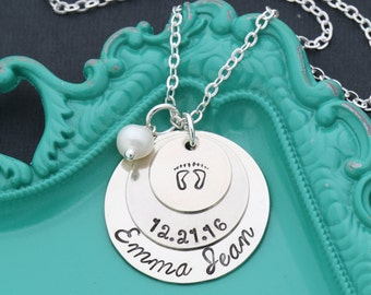 FREE SHIP • New Baby Name Necklace •New Mom Gift Baby Memorial Necklace • Personalized Baby Necklace Baby Loss Gift •Mom Necklace Mommy Gift