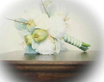 Green Apple Bouquet - READY TO SHIP - Wedding Bouquet - Peony Bouquet - Lambs Ear - Green Apple - Green Apples - Apple Blossoms