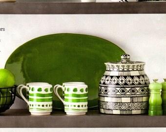 As Seen On HGTV Magazine Cookie Jar, Black and White Pottery Pot, Tall Ceramic Cookie Jar, Candy Jar, Kitchen Storage, Lidded Jar