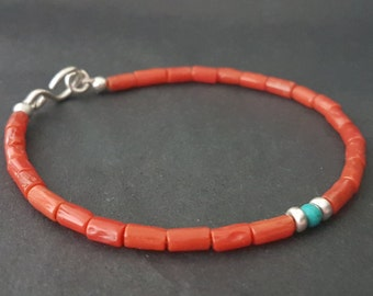 Red Sardinian Coral Beaded Bracelet, Valentine Day Red Coral Bracelet, Stacking Bracelet, Coral Jewelry, Handmade Bracelets