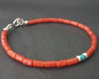Red Sardinian Coral Beaded Bracelet, Valentine Day Red Coral Bracelet, Stacking Bracelet, Coral Jewelry, Handmade Bracelets, Venexia Jewelry