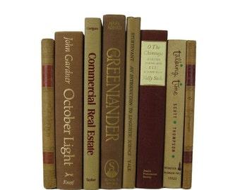Brown Earth-Tone Tan  Decorative Books, Used Books, Old Decorative Books,  Wedding Book Decor, Book Lover Set, Home Decor, Fixer Upper Books