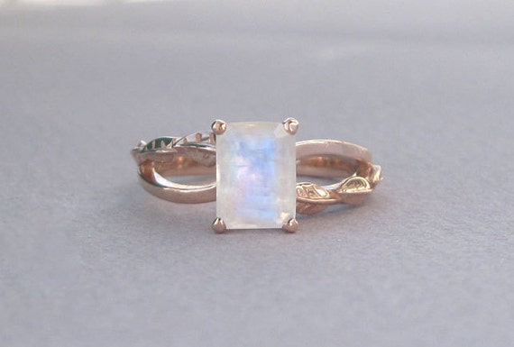 emerald cut moonstone leaves engagement ring gold