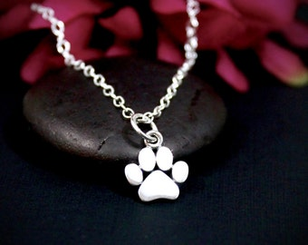 Paw Print Necklace - Sterling Silver Paw Print Charm - Dog Paw Charm Necklace, Cat Paw Charm Necklace