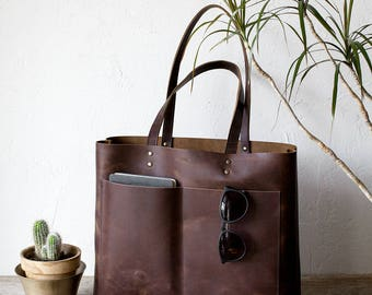 Xmas in July SALE Large Dark Brown Leather Tote bag No. LPB-2011