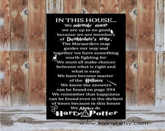 In This House... HARRY POTTER INSPIRED Wood, Home decor wall hanging sign. Always, solemnly swear, classroom, teacher