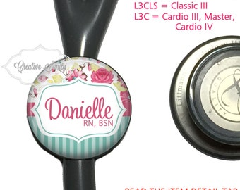 Stethoscope ID Tag, Personalized Flowers and Stripes, See Item Details Tab for Specific Models (Read Carefully), Littmann Stethoscope Tags