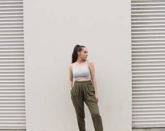 Olive trousers Vintage high waisted lounge pants
