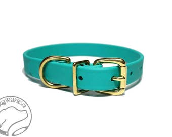 "Teal Dog Collar - NEW - 3/4"" (19mm) Beta Biothane Dog Collar - Your choice of: Stainless Steel or Brass Hardware - Custom Sized"