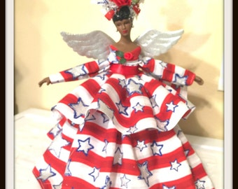 African American Patriotic Angel, Christmas Tree Topper, Black USA Angel for Military Families, OOAK Handcrafted Stars and Stripes Angel