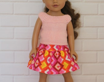 Pale Pink Knitted Top Pink Skirt Doll Clothes to fit 18 inch dolls such as Journey Girls dolls & similar slim dolls