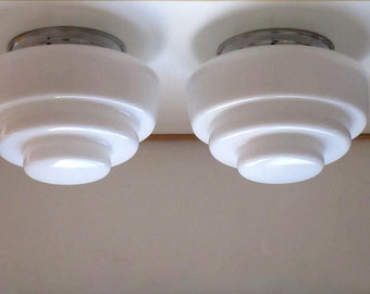 Pair French Art Deco - Flush Mount Ceiling Lights - Pair Skyscraper Light Fixtures - Milk Glass - Perfect for Low Ceilings - French Glamour