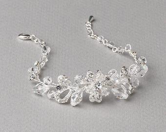 Swarovski Crystal Wedding Bracelet, Floral Bridal Bracelet, Rhinestone Bracelet, Bridal Jewelry, Wedding Jewelry, Bride Bracelet ~JB-4825
