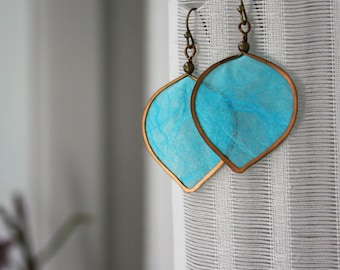 Turquoise Paper Earrings