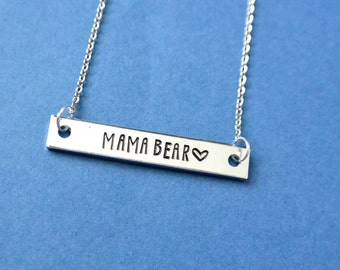 Mama Bear Necklace, Hand Stamped Bar Necklace, Mom Gift, Mothers Day Gift, New Mom, Fur Mom Gift, Gift For Mom, Skinny Bar Necklace, Grandma