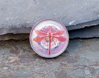 23mm Pink Dragonfly Button Czech Glass BC140,pink dragonfly,dragonfly button,pink glass button,glass button,czech glass button,pink button