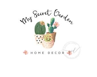 Succulent logo for Home Decor, Premade Logo, Interior design logo, Botanical Logo Design, House plant logo business, Floral craft logo
