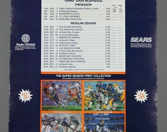 1986 Chicago Bears World Champion Schedule Sears WGN Radio Promo Poster 22 x 17.5 Vintage Poster