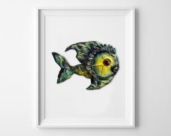 Magic Fish. Children's room decor. Baby Animal. Nursery decor. Wall Sculpture. 3D Wall Decor. Bright time fish. Wall Installation for kids