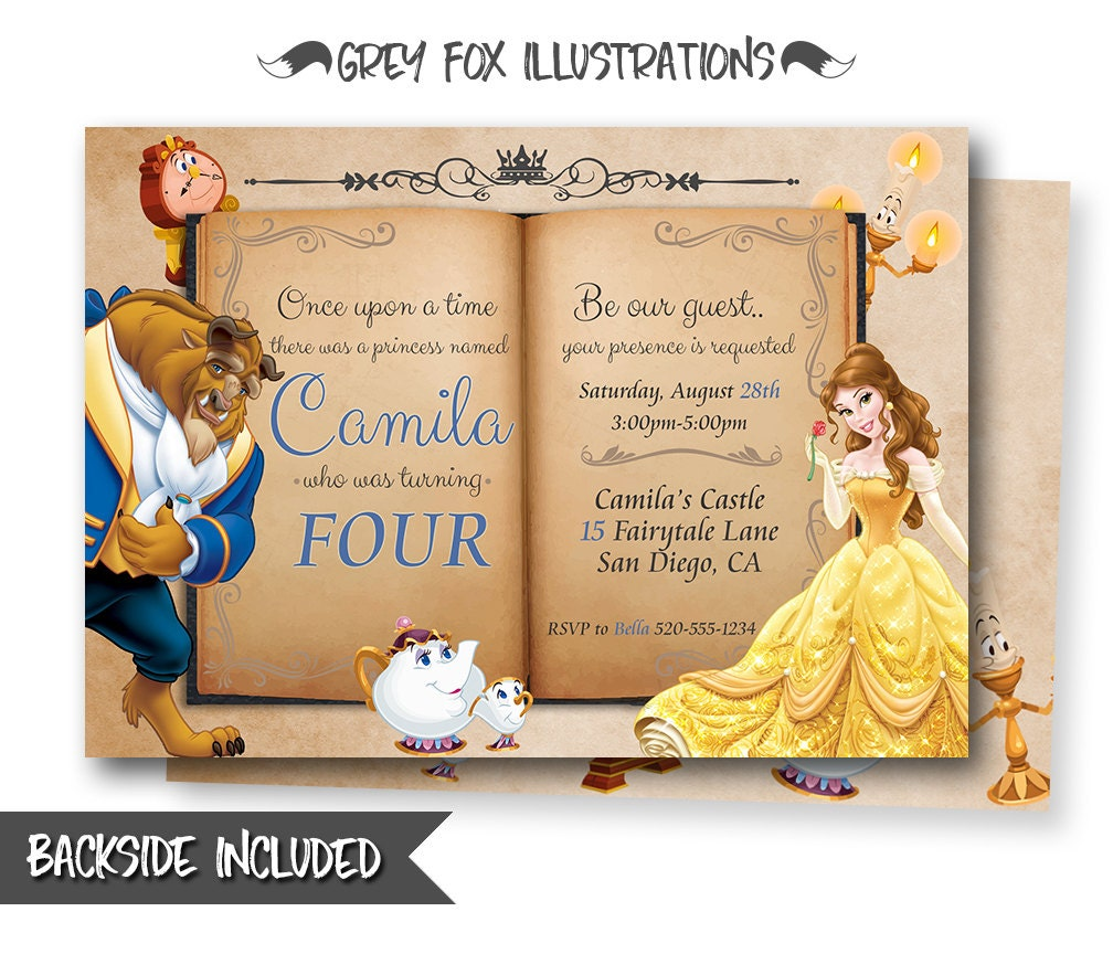 Beauty And The Beast Invitation, Belle Invitation, Beauty And The Beast  Birthday Invitations,