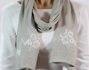 Elegant gray scarf, gray jewelry scarf, fashion scarf, wedding shawl, gift for her scarf, handmade lace scarf, cotton scarf
