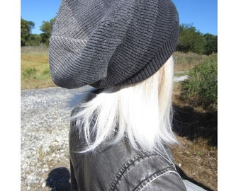 Oversized Slouchy Tam Big Head Beanie Unique Charcoal Gray OMBRE Stripe Thick Warm Winter Knit Dread Hat A1966 / A1837