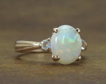 Opal Moonstone Antique Engagement Ring, Antique Rose Gold Ring, Vintage Opal Moonstone Ring, Vintage Oval Engagement Ring, Antique Style