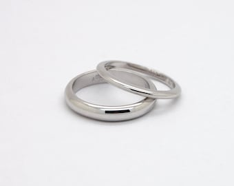 14K White Wedding Ring Set - Couples Wedding Bands - 14K Gold Solid Wedding Rings for Couple - Comfortable Bands