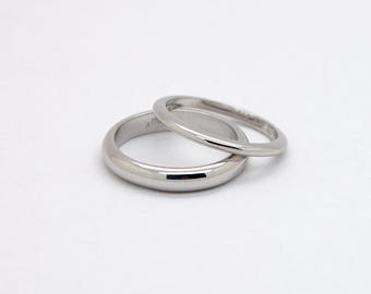 Comfort Fit Wedding Ring Set - 14K Wedding Bands Set - His and Hers Wedding Rings - White Gold Comfortable Rings