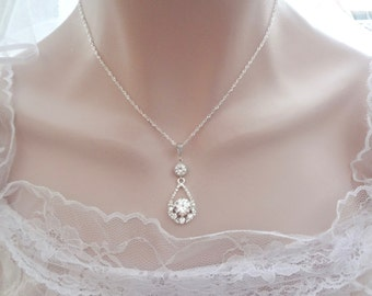 Crystal necklace, Brides crystal necklace, Teardrop crystal necklace, Crystal wedding necklace, Sterling chain, KALI