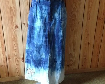 Tie dye and studded Long Jean skirt. Women's size 16.