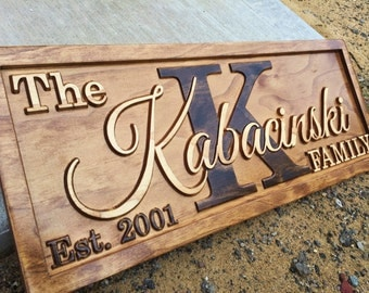 Personalized Last Name Sign Family Established Sign Wedding Gift Personalized Wood Sign Custom Wood Sign Couples Gift Home Rustic Wall Decor