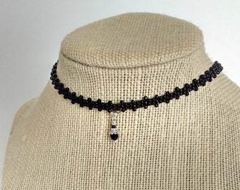 "Seed Bead Choker, Black Choker, Beaded Boho Necklace, Handmade Jewelry, Office Jewelry, Gift for Her, 12"" to 15"""