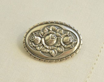 Antique Art Nouveau Silver 800 Floral Roses Brooch, German Jewelry