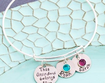 FREE SHIP • Grandma Bracelet Mom Bangle Bracelet • Grandma Birthday Gift Silver Adjustable Bracelet • Birthstone Crystal Grandchildren Gift